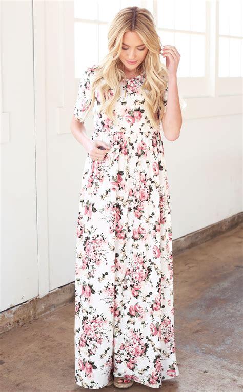 Maxi White Miranda miranda modest maxi dress in white w pink