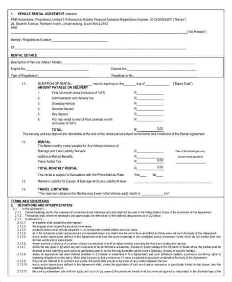 motor vehicle lease agreement template car rental forms template pictures to pin on