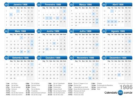 Calendario De 1986 Calend 225 1986
