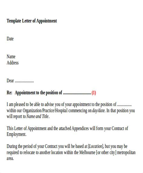 appointment letter doc sle business appointment letter 7 exles in pdf word
