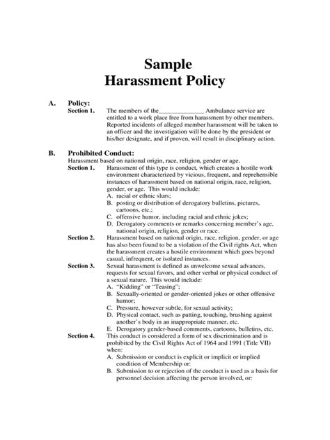 bullying and harassment policy template harassment policy template 2 free templates in pdf word