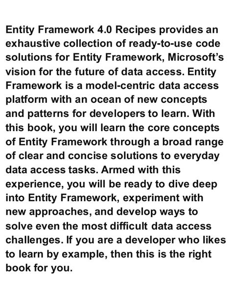 mastering entity framework 2 0 dive into entities relationships querying performance optimization and more to learn efficient data driven development books entity framework 4 0 recipes a problem solution approach