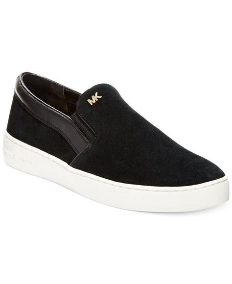 slide on sneakers michael kors michael keaton slip on sneakers in black lyst