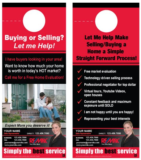 Printforlesscanada Com Remax Realty Full Colour Postcards Starting From 90 Free Real Estate Door Hanger Template