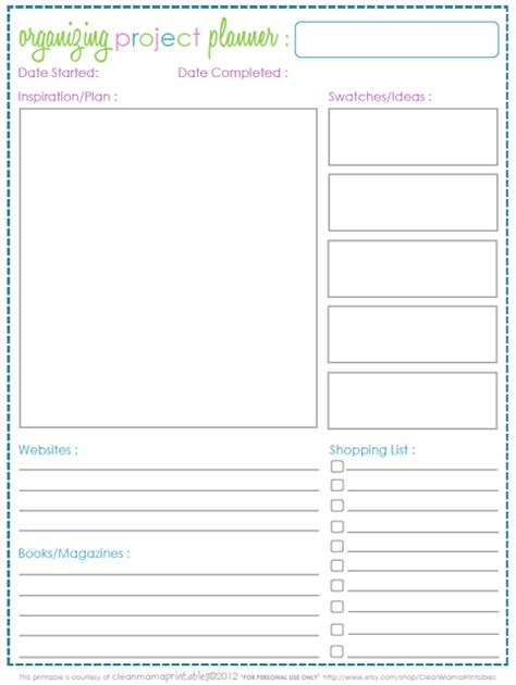 Free Project Planner Template 6 best images of project planner free printable sheets