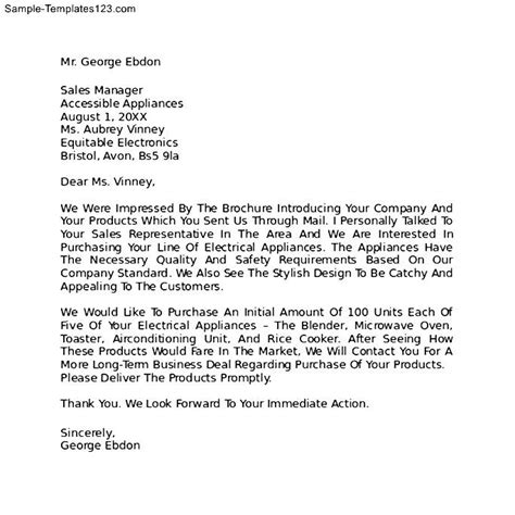 Letter Of Intent Procurement Exle Letter Of Intent To Purchase Business Template Free