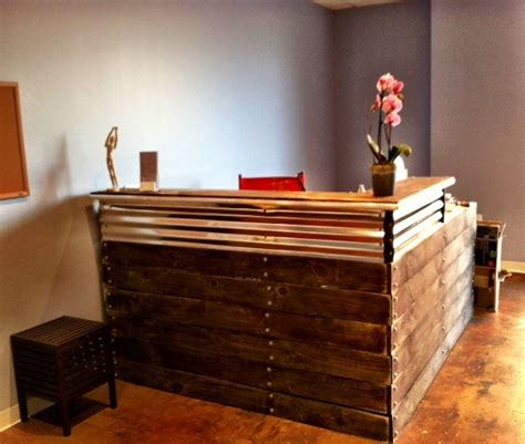 reclaimed wood front desk reclaimed wood and metal come together to a truly