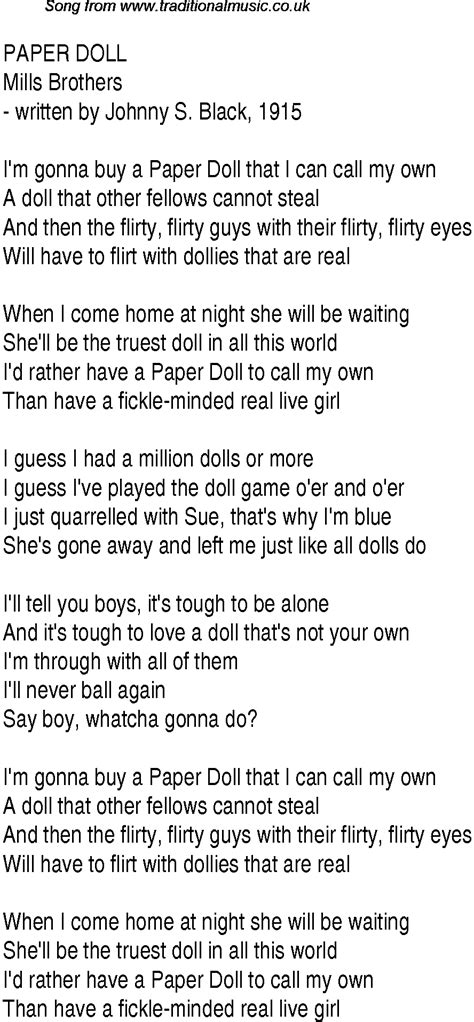 song in top songs 1943 charts lyrics for paper doll