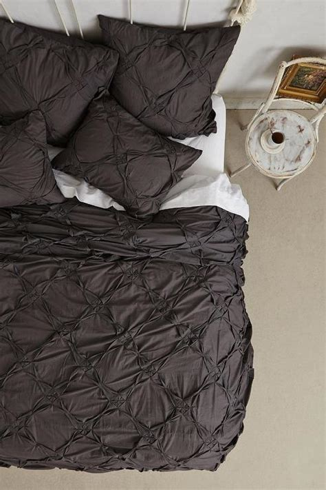 dark grey coverlet gray trellis pintucked duvet