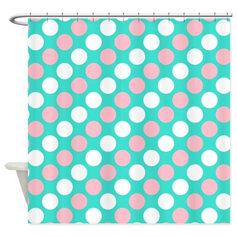white curtains with pink polka dots turquoise white and pink polka dots shower curtain by