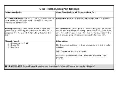 lesson plan template grade 3 lesson plan closed reading grade 9