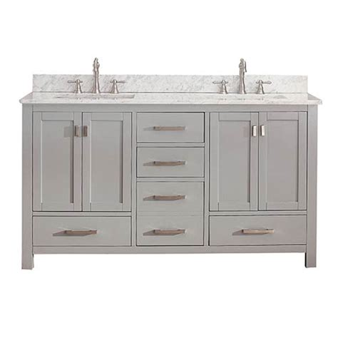 White 60 Inch Vanity by Modero Chilled Gray 60 Inch Vanity Combo With White