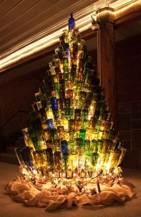 wine bottle christmas tree stand by ajsglassinnovations on
