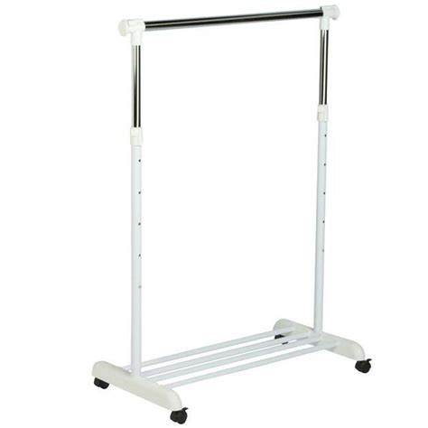 Baru 03 Multifunction Wardrobe Cloth Rack With honey can do garment rack with wheels in chrome white