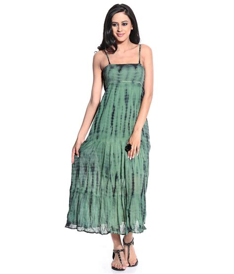 Cotton Patio Dresses Buy Karishma Green Casual Cotton Long Dresses Online At