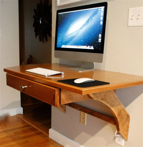 Wall Desk Ideas Wooden Wall Mounted Computer Desk Diy With Imac And Keyboard On It Minimalist Desk Design Ideas