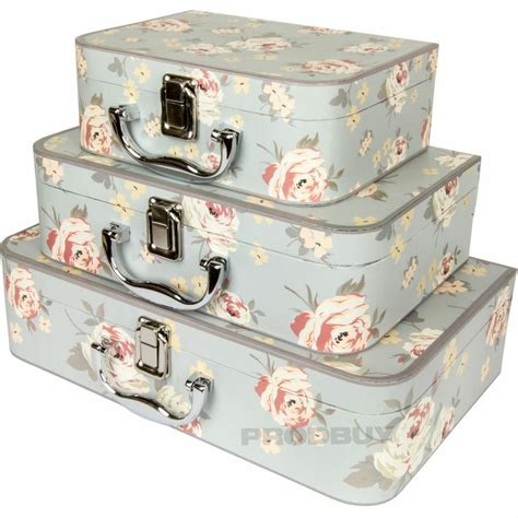 set of 3 card jennifer rose floral shabby chic storage boxes chests trunks cases shabby chic