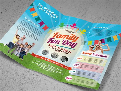 family fun day trifold brochures brochure templates on