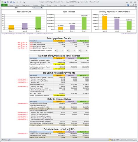 mortgage comparison spreadsheet excel buff