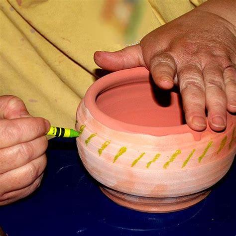 crayons  pottery  wax resist