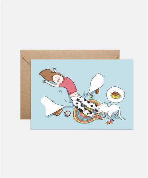 doodle card let me sleep card lingvistov store