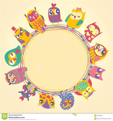 circular place card template childrens background with multicolored owls stock