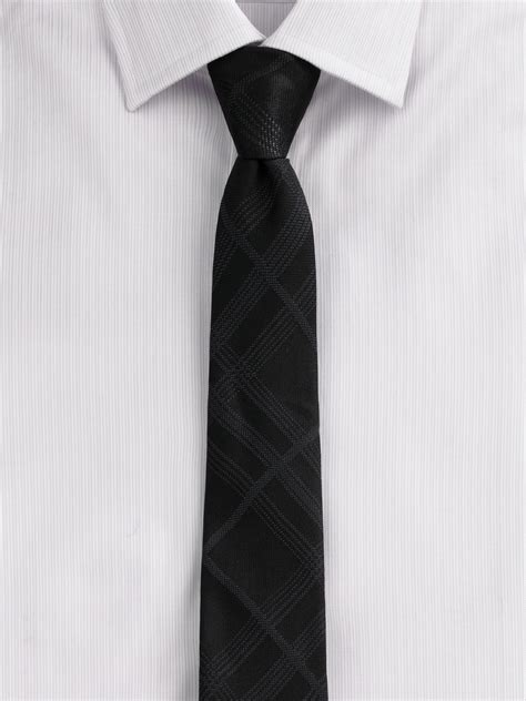burberry tonal check silk tie in black for lyst