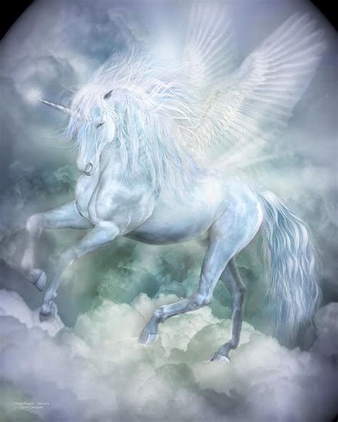 unicorn cloud unicorn cloud dancer mixed media by carol cavalaris