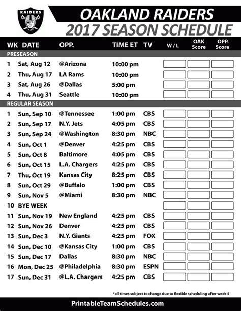 printable raiders schedule 2016 38 best nfl football schedule 2017 images on pinterest