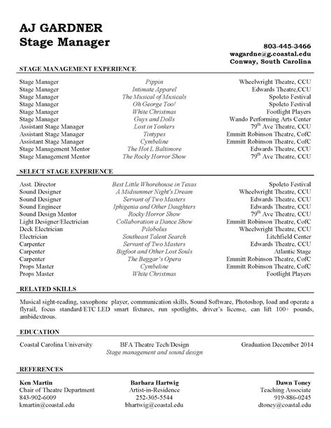 resume exles stage manager resume template theatrical description cover letter special
