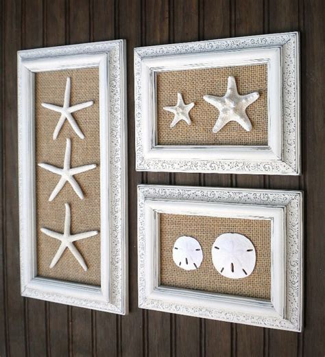 wall decorator trio of coastal wall decor cottage chic framed starfish wall