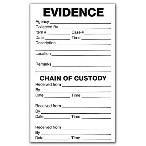 Evidence Bag Label Template shopevident