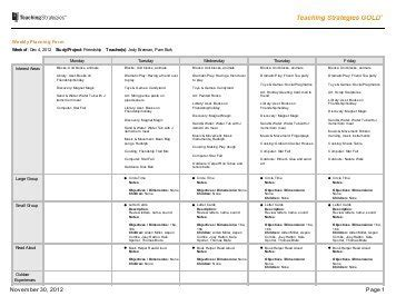 teaching strategies gold lesson plan template weekly planning form calendar template 2016