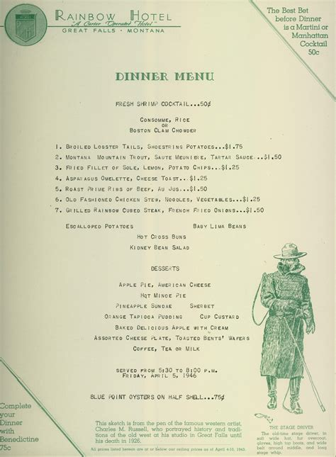 A Menu For Iii by How The West Was The Of Charles Marion