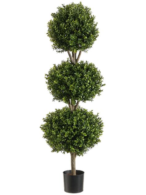 56 quot boxwood 3 ball topiary artificial tree w pot in