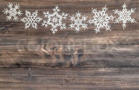 snowflakes border  rustic wooden stock photo colourbox
