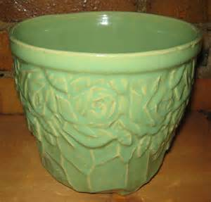 vintage mccoy pottery planter green jardiniere by