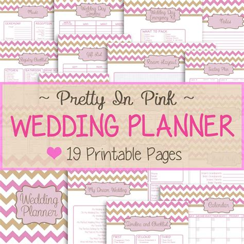 download printable wedding planner wedding planner 19 printable pages pretty in pink