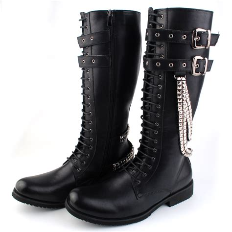 black lace up mens boots fashion black leather lace up rock boots winter