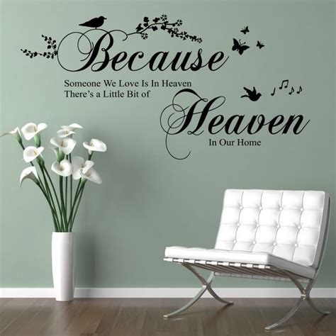 vinyl wall sayings for bedroom details about because someone we love is in heaven wall