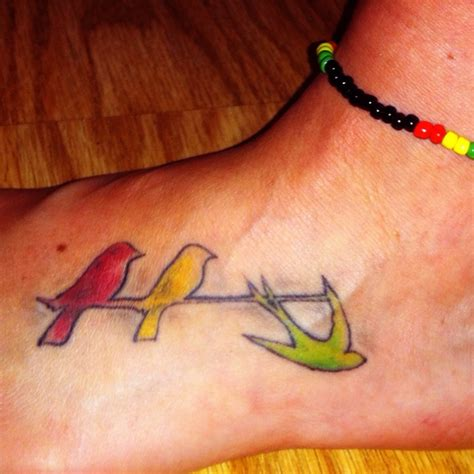three small birds tattoo three birds rasta