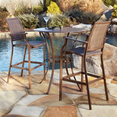 outdoor patio table set panama island cove woven slatted bar height patio