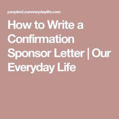 write  confirmation letter  sacraments