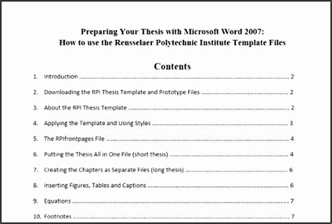 Word Template For Report With Table Of Contents