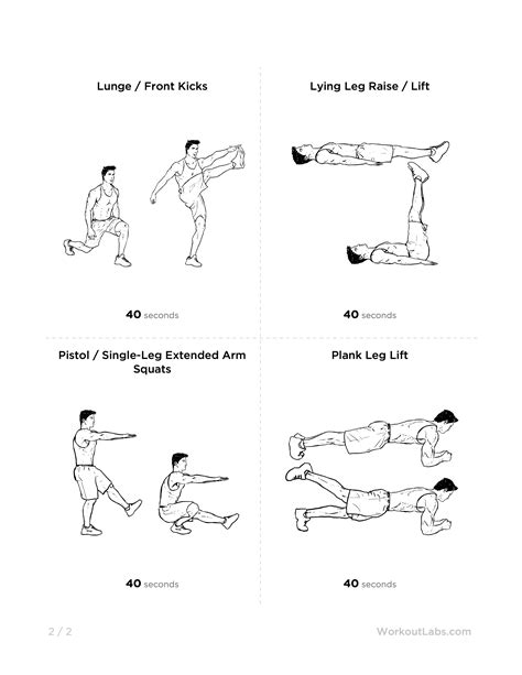 advanced 7 minute at home printable workout for