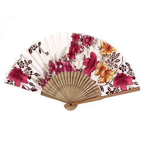 hand fan frame only chinese japanese folding red flowers plastic bamboo frame