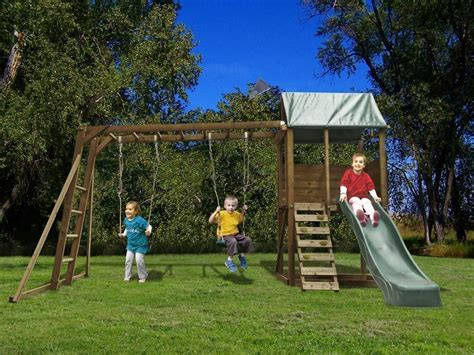 swing and slide monkey bars kids swing set wooden climbing frame childrens garden