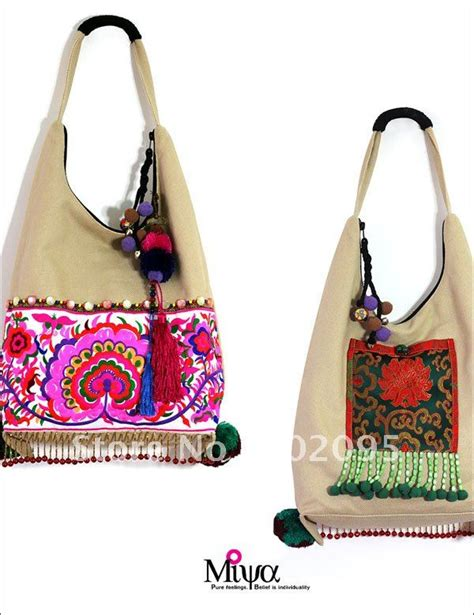 Handmade Bags From - flowers china embroidered tote shoulder message