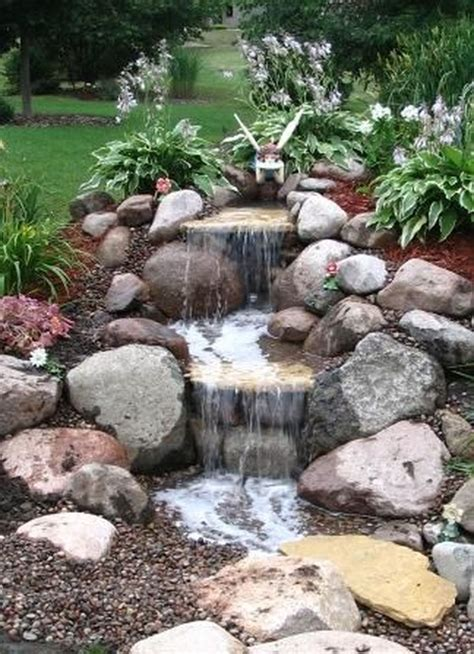 small waterfall pond landscaping for backyard decor ideas
