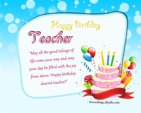 Birthday Cards For Teachers Birthday Wishes For Teacher Wordings And Messages